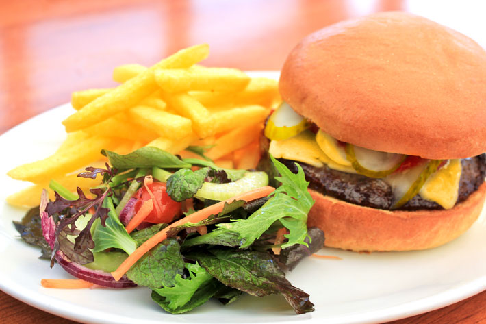 The best burger on the Isle of Wight served at the Ocean Deck, Sandown