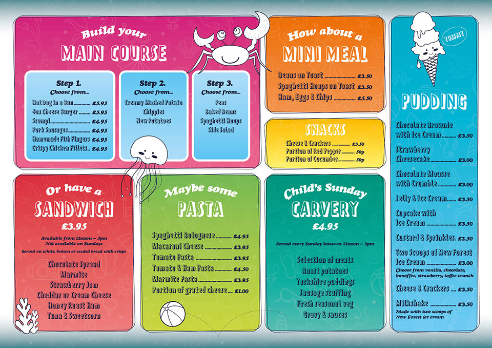 Childrens menu for the Ocean Deck, Isle of Wight