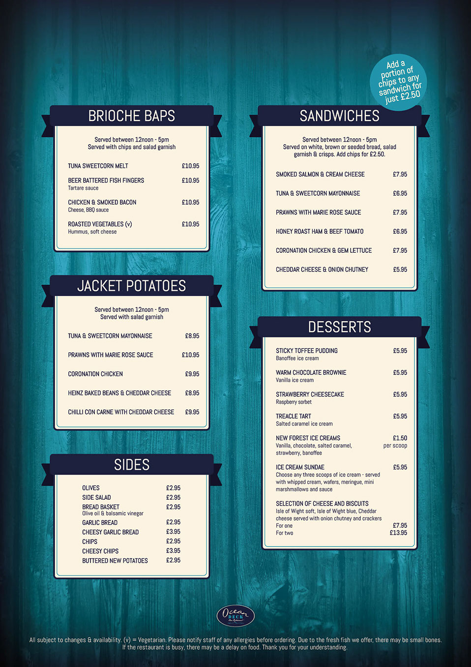 The Ocean Deck, Isle of Wight, Sandown, menu